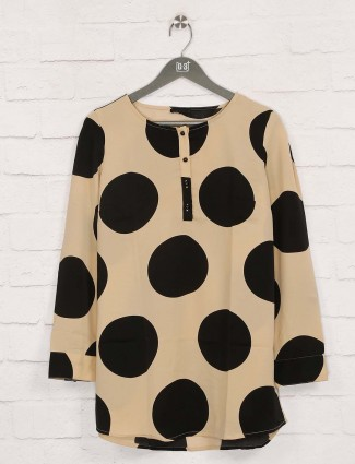 Deal beige printed cotton casual top