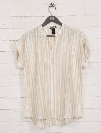 Deal beige stripe chinese neck top