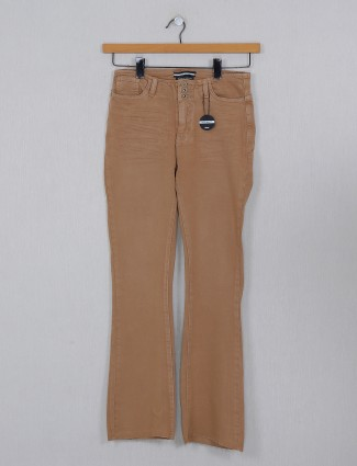 Deal brown casual wear washed denim for women