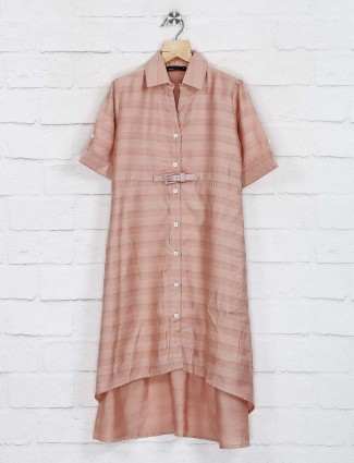 Deal cotton elbow sleeves peach frock
