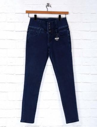 Deal navy solid denim casual wear jeans