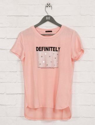 Deal peach printed casual wear top