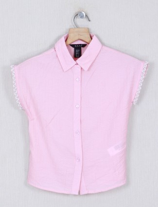 Deal pink printed cotton girls  top