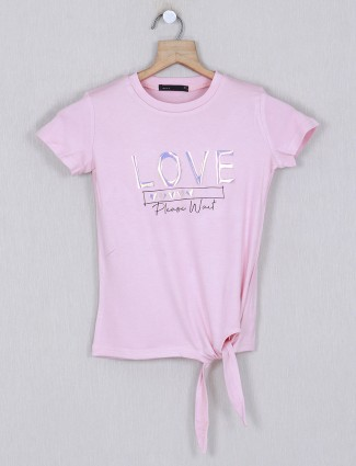 Deal pink printed cotton round neck top