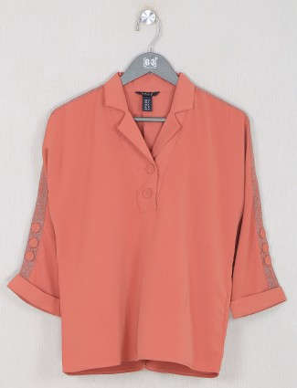 Deal presented orange solid style top for women