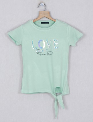 Deal printed green cotton top with cap sleeves