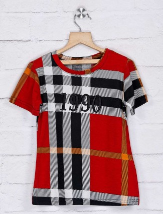 Deal red checks casual wear top