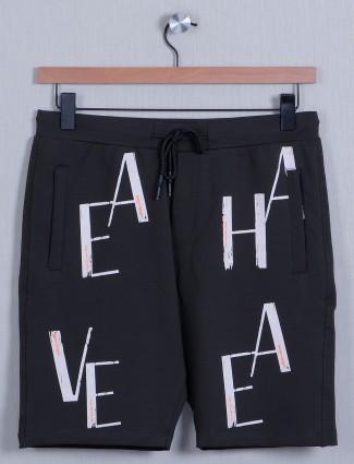 Deepee dark grey cotton slim-fit mens shorts