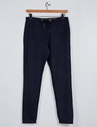 Deepee navy slim fit stripe track pant