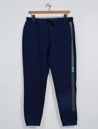 Deepee navy solid cotton track pant