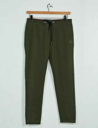 Deepee night solid olive comfortable track pant