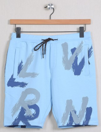 Deepee printed style cotton casual shorts in aqua