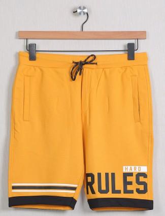 Deepee  printed style mango yellow shade cotton shorts