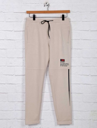 Deepee solid beige cotton night track pant