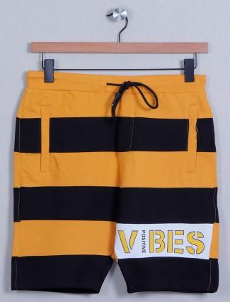 Deepee-tee slimfit stiped short in orange and black shade