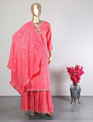 Desginer pink wedding sharara suit