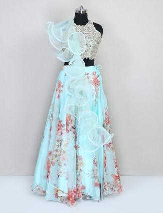 Designer aqua tissue silk wedding lehenga choli