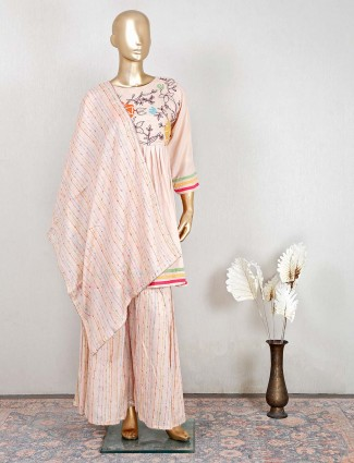 Designer beige cotton palazzo salwar kameez for festive
