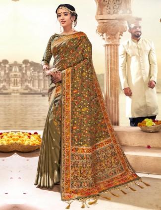 Designer brown banarasi silk saree in zari and thread weaving