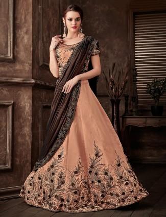 Designer brown lyrca and silk lehenga cum saree for party