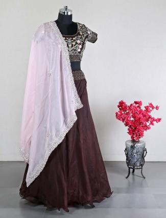 Designer brown raw silk lehenga choli for wedding
