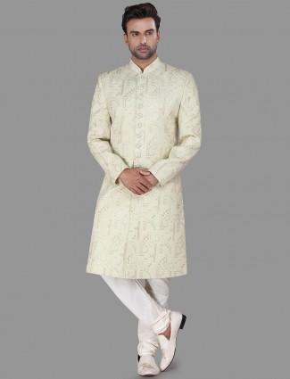 Designer cream silk achkan sherwani