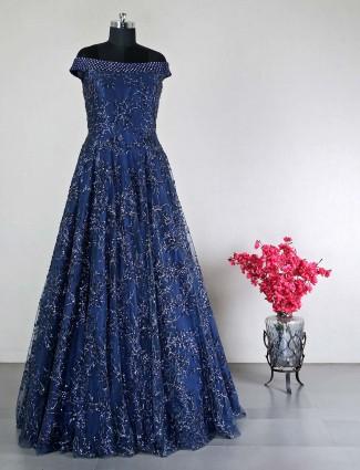 Designer floor length gown in navy