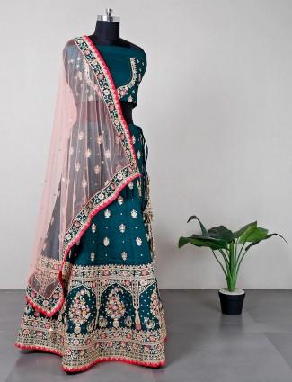 Designer green raw silk wedding wear lehenga choli