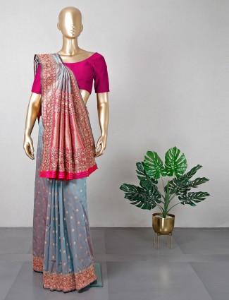 Designer grey wedding wear saree in cotton silk