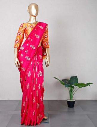 Designer magenta silk saree for wedding function