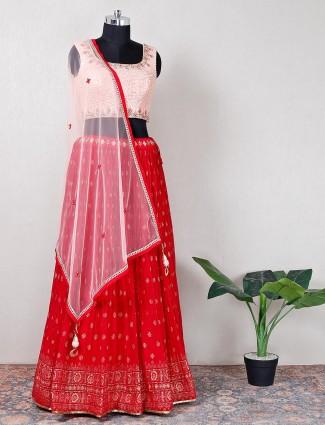 Designer maroon georgette lehenga choli for wedding