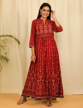 Designer maroon printed cotton casual waer kurti