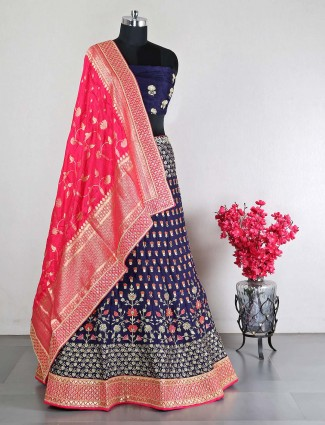 Designer navy shade raw silk lehenga choli