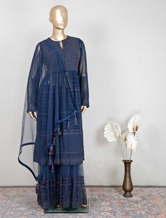 Designer navy silk festive wear sharara suit