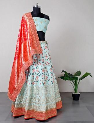Designer pista green raw silk wedding wear lehenga