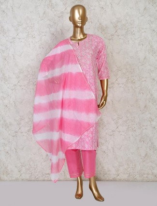 Designer printed cotton pink festive wear pant suit