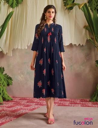 Designer printed navy kurti for casual wear