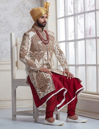 Designer red white sherwani
