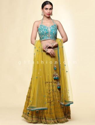 Designer wedding wear green raw silk legenga choli