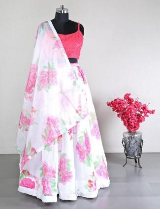Designer wedding wear silk lehenga in white