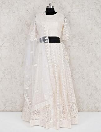 Designer white lakhnavi work georgette lehenga choli