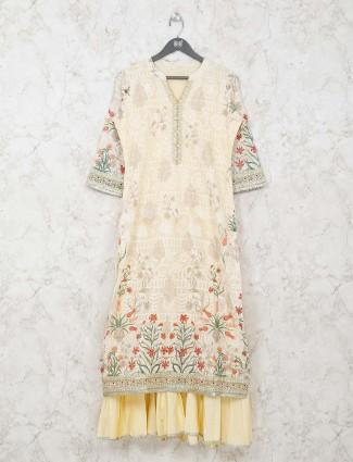 Double layer cream printed kurti in cotton