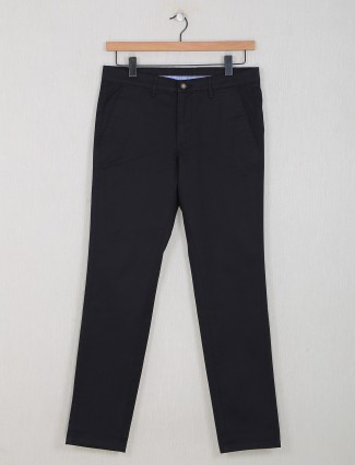 Dragon Hill black solid casual wear trouser