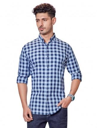 Dragon Hill navy checks casual shirt