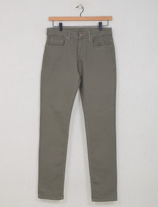 Dragon Hill presented solid light olive slim fit jeans