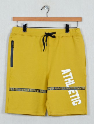 DXI printed yellow color cotton fabric shorts