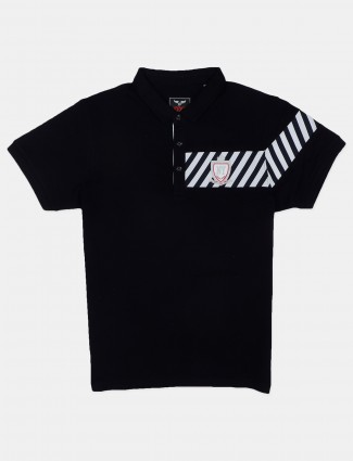 DXI solid black casual wear polo t-shirt