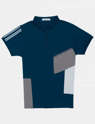 DXI solid teal blue polo t-shirt