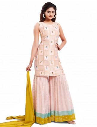 Eminent baby pink punjabi style festive wear salwar suit