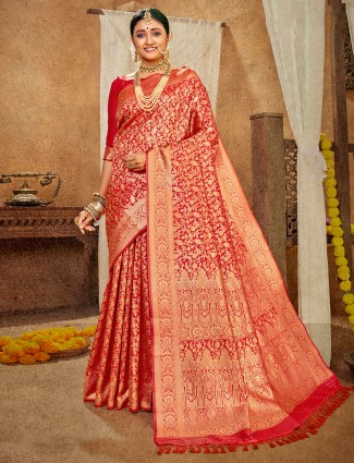 Eminent banarasi silk wdding wear saree in red